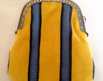Yellow Velvet Coin Purse - Handmade by The Emperor's Old Clothes - blue striped stripy silk lining antique gold metal clasp handsewn unisex