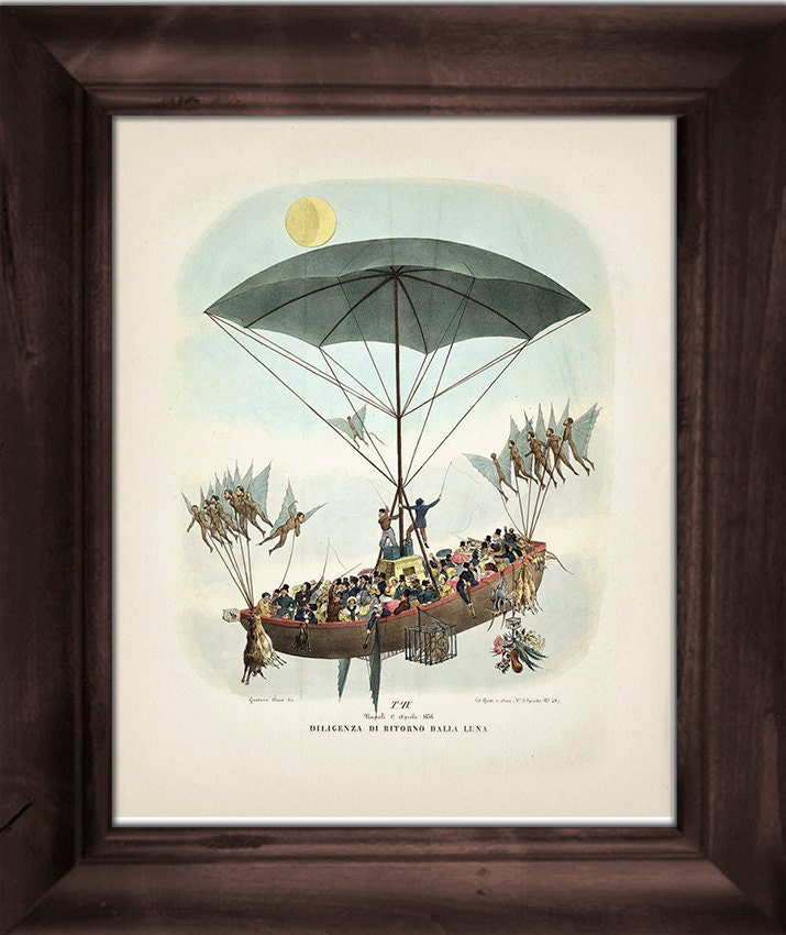 Victorian Airship 2, Dirigible - The Great Moon Hoax of 1835 - OE-06 Fine art print of a vintage Victorian innovation antique illustration steampunk buy now online