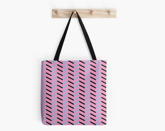 Black and Blue Chevron on Hot Pink Tote Bag