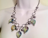 Irridescent teardrop collar necklace // statement necklace // vintage style necklace // matching earrings