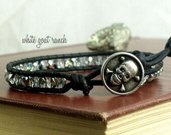 Skull Leather and Glass Bracelet, Memento mori  Jewelry Handmade Boho Wrap Bracelet Black Leather Pirate Accessory Stacking Jolly Roger