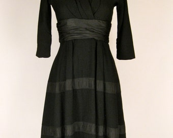 Vintage 1950's Mollie Parnis Black Wool Crepe and Taffeta Fit and Flare Dress