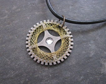 Wire-Wrapped Gear Necklace, Steampunk Jewelry, Gold Wire