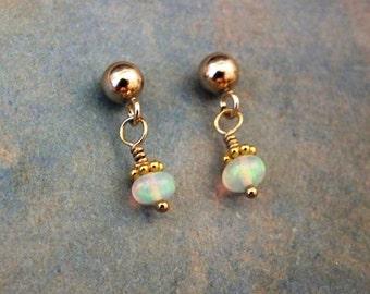14k GF Opal Drop Earrings, Minimalist Dangle Earrings, 14k GF Opal Dangle Earrings, Delicate Opal Earrings, October Birthstone