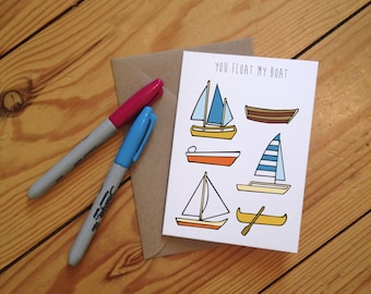 You Float my Boat Illustrated Greetings Card