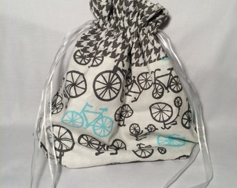 Bicycle Blue and Grey Houndstooth Drawstring Pouch, Drawstring Bag