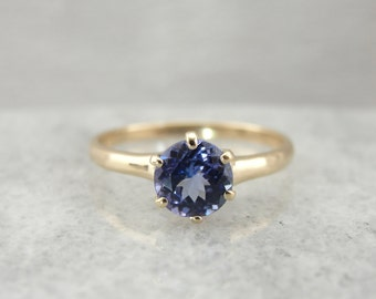 Six Prong Classic Blue Tanzanite Solitaire Ring METDD1-R