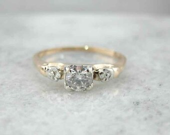 Vintage Diamond Engagement Ring with Floral Accents  D905E1-R