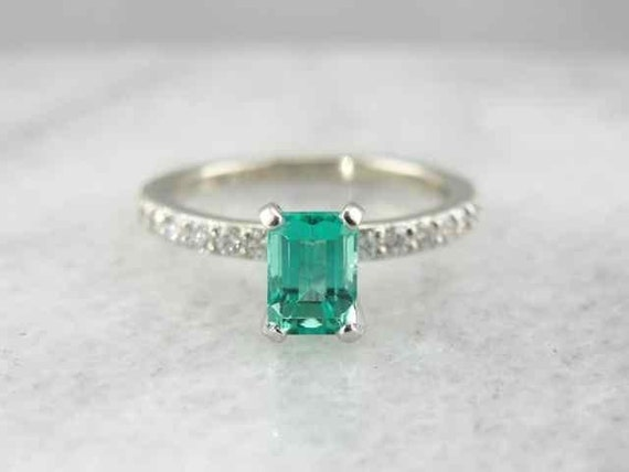Emerald Engagement Ring With Pave Diamond Accents by MSJewelers