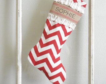 Chevron Christmas Stocking with Burlap and Canvas Accent