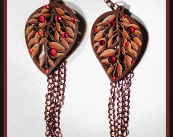 Autumn Leaf and Chains Earrings