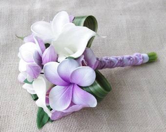 Purple Silk Flower Natural Touch Lavender Lilac Plumerias and Orchids Beach Wedding Bride Bouquet