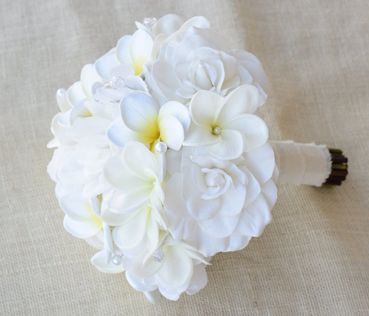 Silk Flower Wedding Bouquet Off White Plumeria And Gardenia