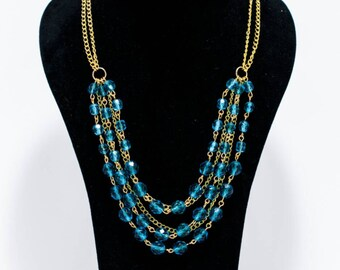 Turquoise Crystal Beaded, Multi Gold Plated Chain Necklace