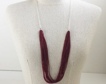 Long garnet necklace, wine color necklace, burgundy statement necklace, wedding necklace, beaded necklace, fsu necklace,dark red,casual,16