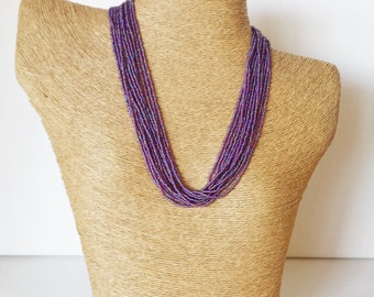 Hyacinth necklace, purple necklace, statement necklace,bridemaid necklace, eed beads,bridesmaid necklace,plum necklace