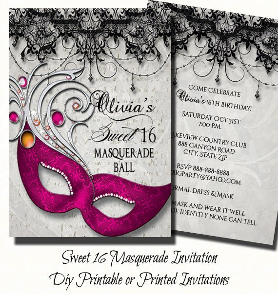 Pink Sweet Sixteen Masquerade Party Invitation Masquerade