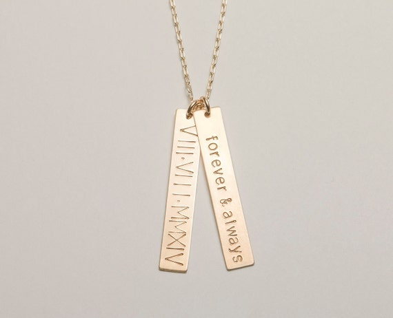 Meaningful Wedding Gift Ideas: Custom Bar Necklace Personalized Gift Simple Vertical Bar