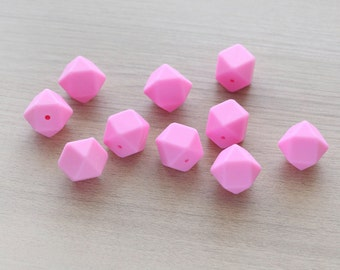10 pcs of Pink Polygon Geometric Faceted Silicon Beads - 17 mm