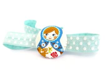 Babushka Headband/ Matryoshka Headband/ Girl Elastic Loop/ Elastic Headband With Russian Doll/ Elastic Headband For Girls