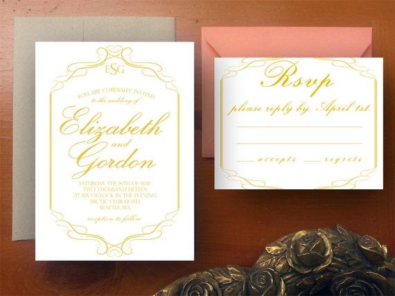 "Vintage Wedding Invitation/RSVP Set - ""Valencia"" - Digital File"