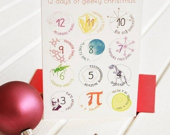 12 DAYS GEEK CHRISTMAS Cards Set Funny Science Twist Carol Song Unique Scientific Festive Greetings Holiday Card Packs Red Envelope Big Bang