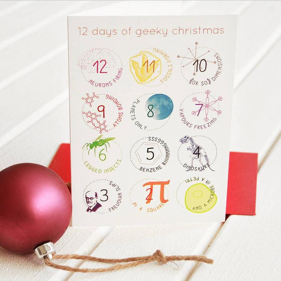 Twelve Days Of Christmas Carolers: 12 DAYS GEEK CHRISTMAS Cards Set Funny Science Twist Carol