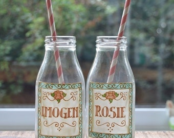 Personalised Vintage Label Style Mini Milk Bottles