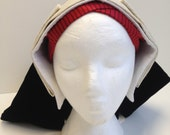 Ladies' Cream/Ivory Damask Bonnet and Frontlet Tudor Headdress as Seen on BBC2
