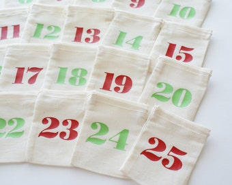 Red and Green Advent Bags with Mini Clothespins -  3x4 inch Fabric Advent Calendar - Christmas Countdown - Reusable