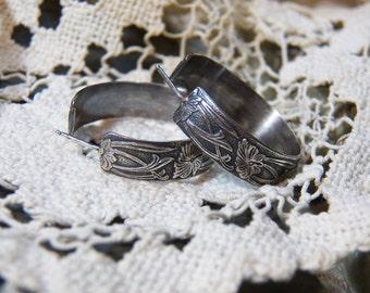 Sterling Silver Hoops - Hoop Earrings - Wide hoops - Retro Art Deco embossed pattern - oxidized hoop