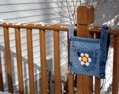 White daisy recycled denim jean crossbody hip purse