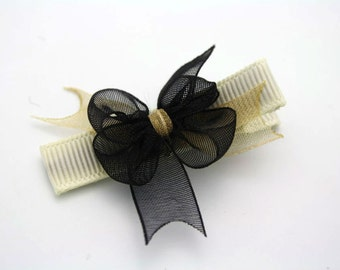 Gold bow hair clip - alligator clip - no slip grip - baby toddler hair accessory