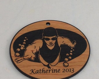 Custom Personalized Swimmer Christmas Ornament FREE Shipping