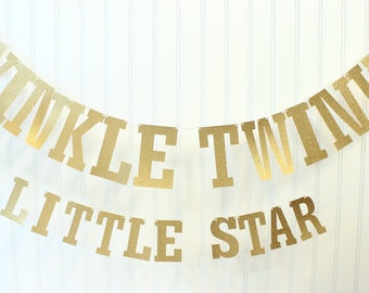 Gold Glitter Twinkle Twinkle Little Star Banner, Gold Baby Shower, Gold Baby Banner, Gold Star Garland, Baby Shower Banner, Cake Table Decor