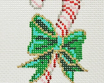 Needlepoint Handpainted Canvas Sandra GILMORE Christmas Ornament Candy Cane 2x4 -Free US Shipping!!!