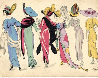 Fashionable Parisienne Women postcard, signed Xavier Sager, 1910s