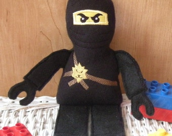 Block Ninja Stuffed Action Figure Toy. Huggable and fun - safe for all ages. Inspired by Kai and other Ninjago characters