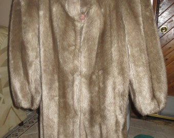 Vintage Ladies Imitation Fur Coat, Knee Length, Pristine Cond, Made In the USA-size 8-10, Birthday, Anniversary, Winter Holidays Gift Ideas