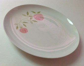 Franciscan Pink A Dilly Dinner Plate, 1950s Franciscan Rose Whitestone Ware