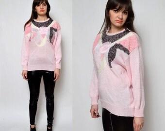 SALE___Vintage 80's Baby Pink Embellished Ornaments Sweater