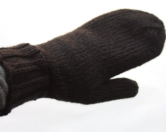Black Mittens for Adults - Traditional Mittens - Old Fashioned Mittens - Black Adult Mittens - Knit Mittens - Knit Black Mittens