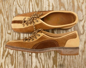 Bowling Shoes 1970's - Vintage Brown Suede Bowling Shoes - 70s Jesse Jane Bowling Shoes by Sebago - Vintage Boho Hippie Shoes -Size 7 Womens