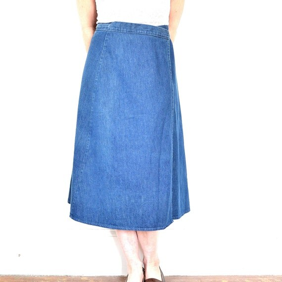 vintage denim wrap skirt 70s jean boho by thatwasagoodyear