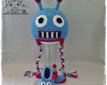 Robot Earflap Beanie & Baby Booties Set - PDF Crochet Pattern - Instant Download