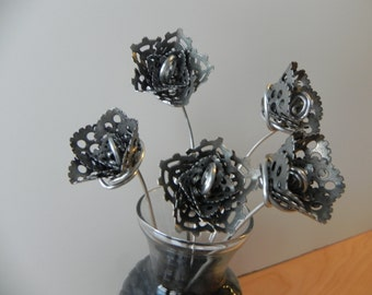 Frosted Rose, Steampunk Rose, Handmade Metal Flower, Forever Rose
