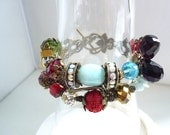 bracelet amazonite,, style Edwardian, with toggle clasp, cinnabar beadwith chain , crystal  cute and classy DIY