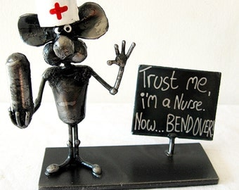 Medical Nurse Mouse Recycled Steel Sculpture