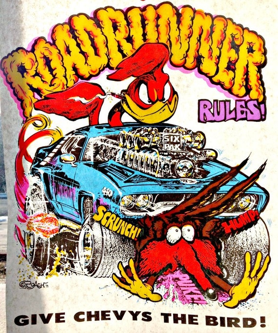 Roadrunner rules vintage 70s t shirt iron on by irononstation for 70 s t shirt transfers