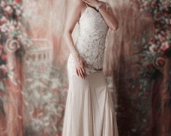 SALE Peach Lace Mermaid Flapper Dress - Wedding Dress, Prom, Bridesmaid dress,mother of bride dress